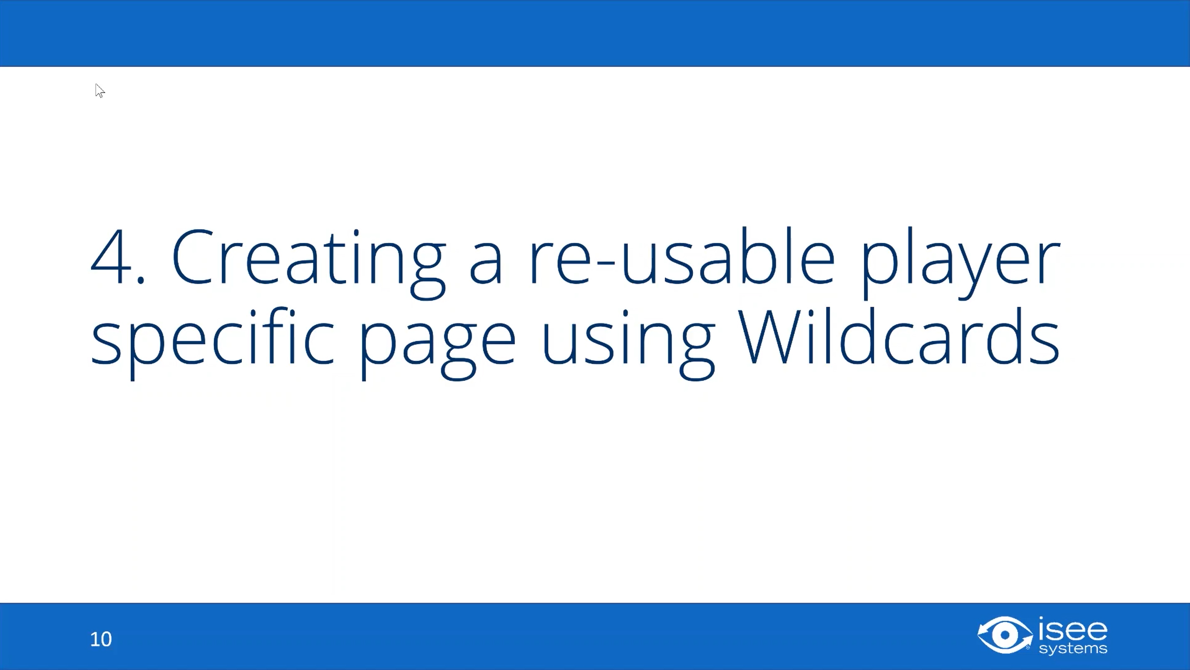 Creating a Reusable Player Specific Page Using Wildcards